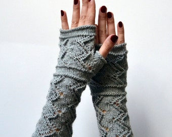 Gray Lace Knit Fingerless Gloves - Lace Fingerless Gloves - Fall Gloves - Gray Lace Gloves - Feminine Fingerless - Luxurious Gift nO 101.