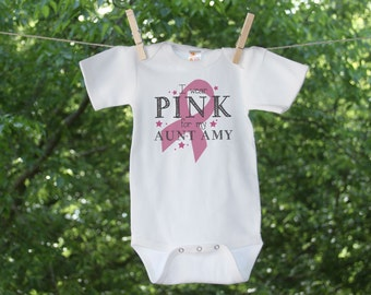 Breast Cancer Awareness-I wear PINK for my Aunt-Personalized Infant Bodysuit
