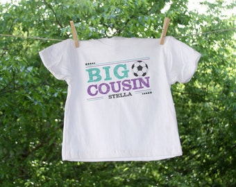 Soccer Personalized Big Cousin Tee - Bluish Teal and Purple Text