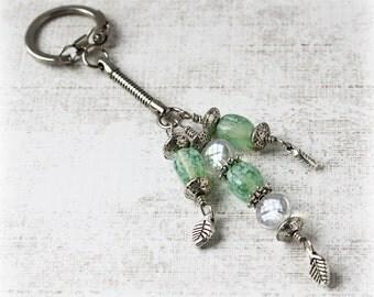 Beaded Keychain, Keychain, Purse Charm, Bag Charm, Beaded Keyring, Decorative Keychain, Elegant Accessory, Beaded Key Fob