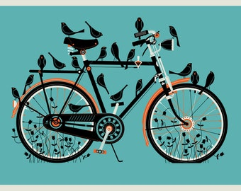 Bird Bike 12 x 16 silkscreen