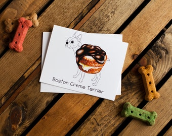 Dog Treats Notecard - Boston Creme Terrier (boston terrier, dog notecards, dog stationery, blank interior for thank you, thinking of you)