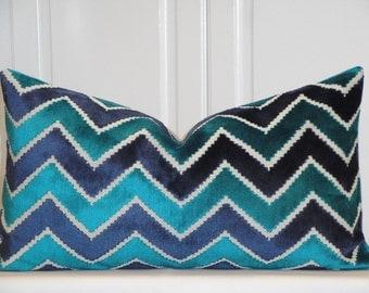 VELVET - Decorative Pillow Cover - Zig Zag Velvet - Chevron Velvet -  Ikat Velvet Pillow - Teal Turquoise Navy - Raised Velvet