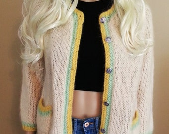 Cream Mohair and Wool Cardigan with Yellow and Mint Green Lining