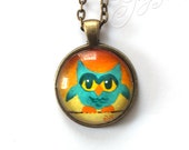 Miniature Wearable Art, Miniature Owl Painted Pendant With Necklace, Lucite Green on Tangerine Jewelry