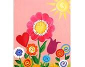 Anniversary SALE Baby nursery decor - Nursery art - Girls Room Decor - PINK GARDEN 12x16, Wall Art for Girls Room, Acrylic