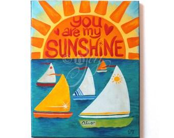 Kids Wall Art, YOU Are My SUNSHINE, CUSTOM 11x14 Painting for Nursery