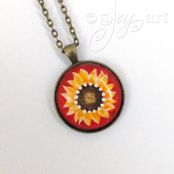 Wearable Art, Sunflower on Red Pendant with necklace, original acrylic painting under glass, mini art, NOT A PRINT