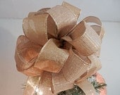 Large Burlap with Gold shimmering threads and a matching sheer gold Ribbon Christmas Tree Topper Bow