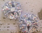 Silver Sparkle Piggy-Tail Clips - Mini Messy Bow Clips