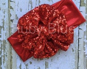 Red Sparkle Messy Bow Head Wrap