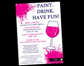 Painting Wine Party Invitation, Bachelorette Invitations