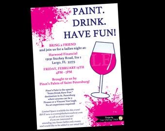 Paint palette invite Etsy