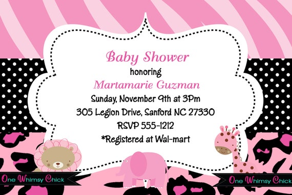items similar to pink safari baby shower invitations, pink safari, Baby shower
