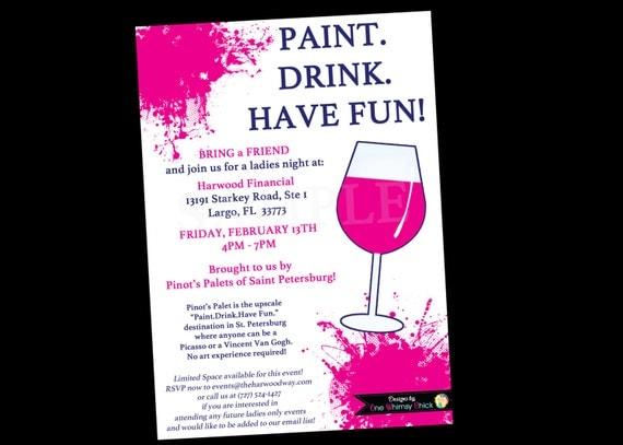 painting wine party invitation bachelorette invitations, Party invitations