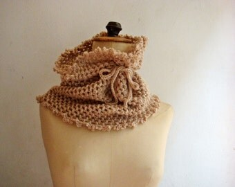 Beige Crochet Cowl, Winter Snood, Merino Wool Circle Scarf