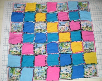 Blue Jays Birds Cotton and Flannel Rag Blanket - one of a kind