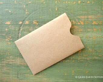 """100 Gift Card Sleeves, Gift Tag Sleeve, Credit Card envelope, Business Card Sleeve, Recycled kraft brown, 2 3/8"""" x 3 1/2"""" (60x89mm)"""