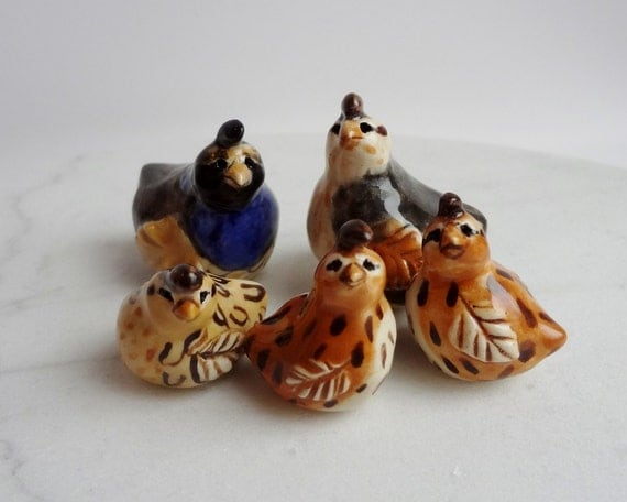 Quail family miniature terrarium figurines set of