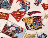 Discontinued / Rare/ Comic Book Fabric / Super Man /  Superhero  Fabric/ half yard