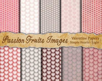 Simple Pink and Grey Hearts- 12 Pattern Digital Paper Pack--Instant Download