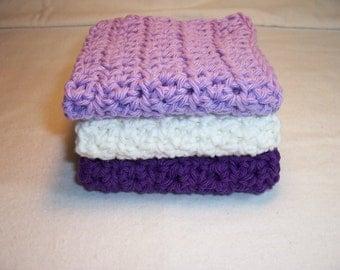 "Set of 3 Handmade Crocheted Dish / Wash Cloths - Crochet Dishcloths -  Bath WashCloths 7"" x 7"" 100% Cotton"