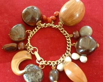 Vintage Seed Nuts Charm Bracelet 1940 Original