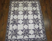 Grey and Purple Star Baby Quilt- 39x50 inches