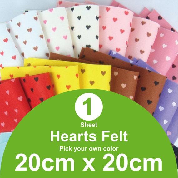 1 Printed Hearts Felt Sheet - 20cm x 20cm per sheet - Pick your own color (H20x20)