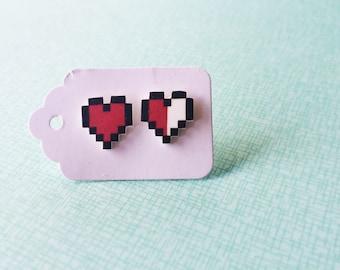 Shrink plastic Zelda heart earrings studs.