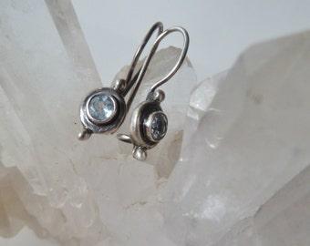 Sterling Crystal Earrings, Vintage earrings, Small Earrings