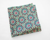Men's Cotton Pocket Square: jazzy flowers on an aquamarine background