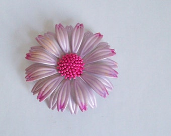 Vintage metal flower brooch hot pink lavender large flower petals free shipping to USA