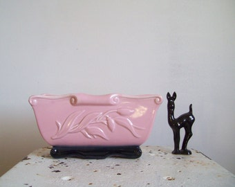 Mid Century planter pink black oblong planter perfect condition California Pottery