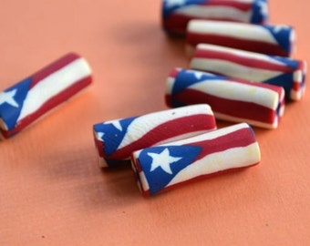 4pcs Flag Beads Puerto Rico 7x18mm Polyclay Polymer Clay Jewelry
