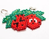 Cute Strawberry Charms, Emoji Faces, Miyuki Seed Beads, Handmade Craft Supply
