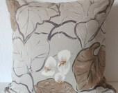 Vintage Brunschwig & Fils foliage leafs beige charcoal brown decorative pillow cover