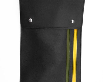 Racing Stripe Drum Stick Bag- Vintage Army Green and Yellow