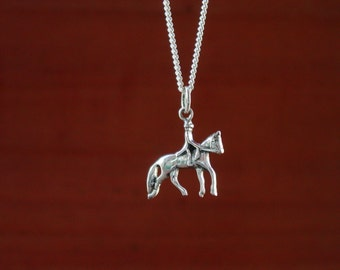 Dressage Horse and Rider Pendant Sterling Silver with Chain,Equestrian Jewelry,Dressage Horse Jewelry Equestrian Necklace