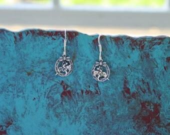 Hunter Jumper in Horseshoe Bow Earrings Sterling Silver,Equestrian Jewelry Horse Earrings