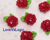4 Rose Lucite Cabochon. Red Tone