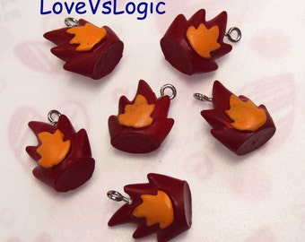4 Abstract Fire Flame Acrylic Charms