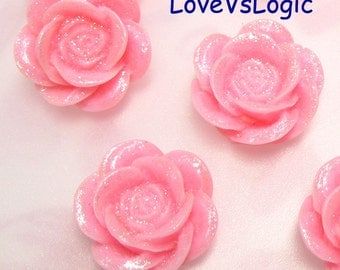 10 Glitter Flower Lucite Cabochon.Pink Tone