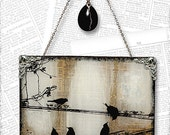 """Birds on a Wire Handmade 8"""" Square Glass Wall Decor from Upcycled Dictionary page book art - WilD WorDz - Carriers of the Word No. 3"""