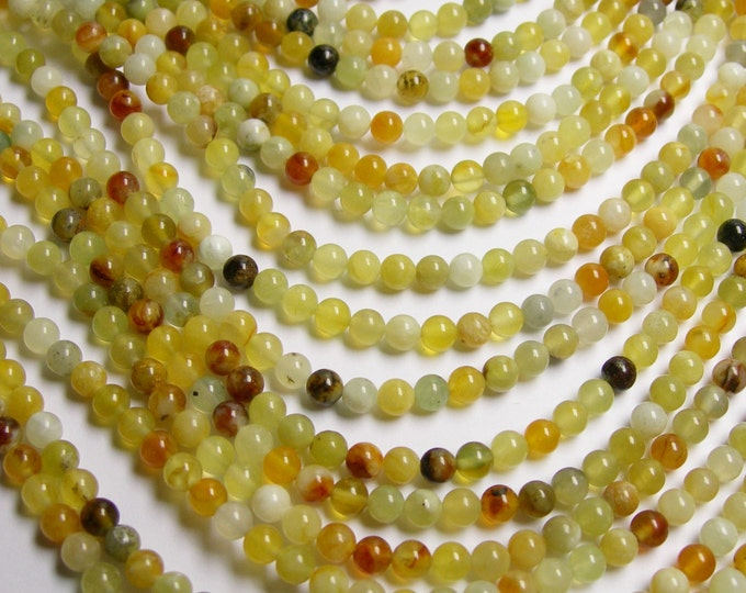 New Jade 4 mm round - A quality - 94 beads per strand -  1 full strand - RF143