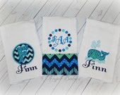 New Baby Gift Set Blue Whale Burp Cloths, Bodysuits and/or Bibs Mix and Match Choose Any Theme for Fabrics Free Personalization Nautical