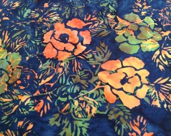 Glorious Garden Batik Gypsy Wrap, size M  - yoga headband, hair wrap, dread wrap, pre tied bandana