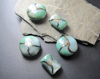 Handmade Lampwork Beads Glass - Kintsugi green