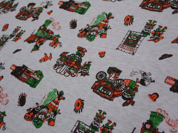 Western themed fabric remnant 62 x 55 cream by for Train themed fabric