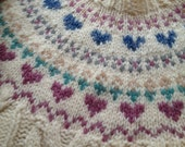 80s Heart Patterned Fair Isle Hand Knit Sweater